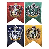 Harry Potter Complete Hogwarts House Wall Banners, Ultra Premium Double Layered Indoor Outdoor Party Flag - Gryffindor, Slytherin, Hufflepuff, Ravenclaw - 30''X 50'' (4PACK)