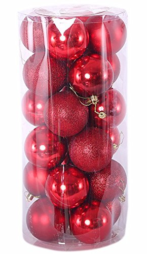 Homemade Angel Halloween Costumes Women (Christmas Decorations Ball Ornaments Exquisite Colorful Balls Decorations Pendant Pack of 24pcs (Red))