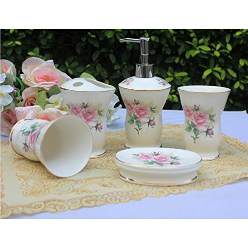 (USTARAIL Ceramic Bathroom 5 Pieces Set Supplies Pink Elegant Rose Bathroom Accessories Set Stylish Bath Accessories Beautiful Home Gifts)