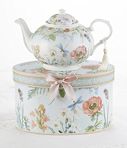 "9.5 x 5.6"" Porcelain Tea Pot in Gift Box, Dragonfly"