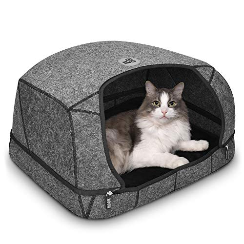 CAT Care Cat Cave Bed – Cat Caves for Indoor, Removable Cave Design, Soft Graphene Heating Cushion, Scratch-Resistant…