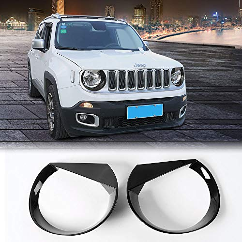 (JeCar Jeep Angry Eyes Headlights ABS Headlight Trim Angry Bird Head Lights Bezel Lamp Cover for Jeep Renegade 2015 2016 2017 2018(Black))