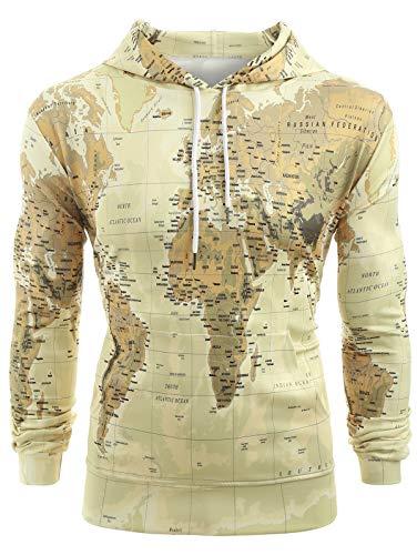 KENANCY Men's Hoodie Sweatshirt World Map Print Pullover Drawstring Pockets Long Sleeve Hooded Outerwear S Yellow