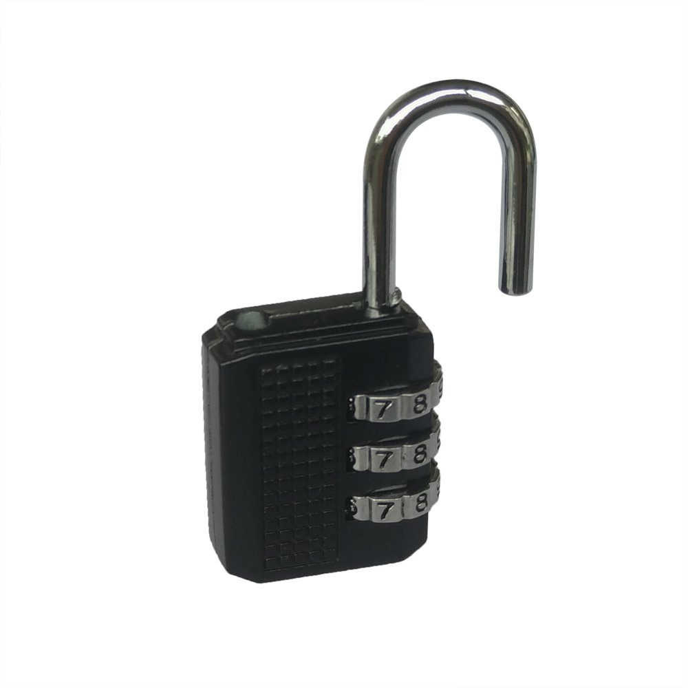 Yuauy Black 4 x Resettable 3 Dial Digit Combination Password Code Lock Padlock for Suitcase Luggage Travel Baggage Backpack School