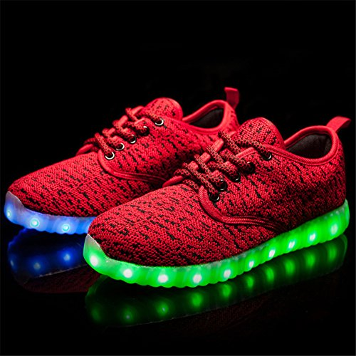 KALEIDO ShinyNight USB Charging 11 Colors LED Light Up Shoes Fashion Sneakers Sport Shoes For Mens Womens Girls Boys F-red gpnlH