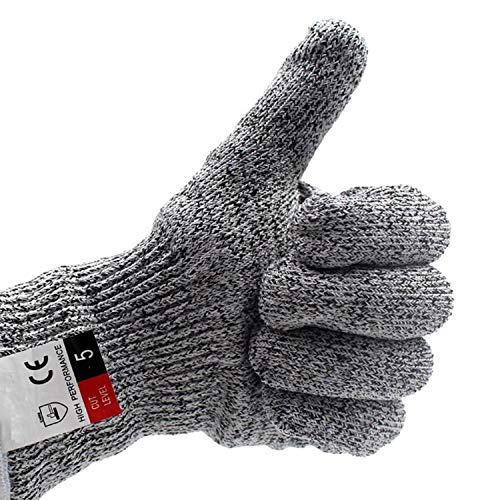 Anti Scalding Glove Touchscreen Gloves- Cut Resistant Gloves, Perfect For Cooking Fishing Sewing Handcraft And Working Away From Cuts And Scrapes BBQ (Color : Gray, Size : M, UnitCount : 5 Pairs) (Tails Silver Bamboo Charcoal)
