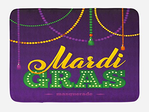 Ambesonne Mardi Gras Bath Mat, Beads and Tassels Masquerade Theme Calligraphy Design Fun Print, Plush Bathroom Decor Mat with Non Slip Backing, 29.5 W X 17.5 W Inches, Purple Marigold Fern Green for $<!--$24.95-->