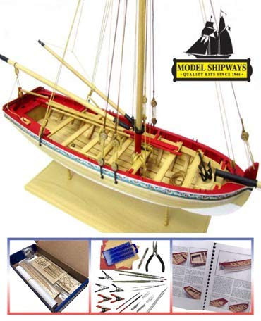 MS1457CBT-Model-SHIPWAYS-18TH-Century-Longboat-Starter-KIT-with-Tools-148-Scale-Wood-Plank-on-Frame