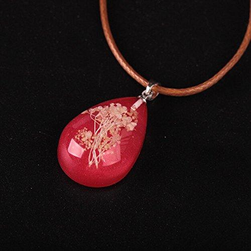 (Women's Luminous Dried Flower Teardrop Pendant Necklace Charm Chain Jewelry Bohemian Fashion Colar Charm Chains Jewelry Accessories Girlfriend Mother's Day Birthday)