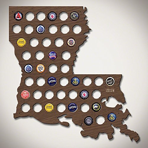 Wall Decor Leiacikl22 Designed Louisiana Beer Cap Map Wood Bottle Beer Cap Collector Cool Christmas Gifts for Dad 16.93 x 15.75""