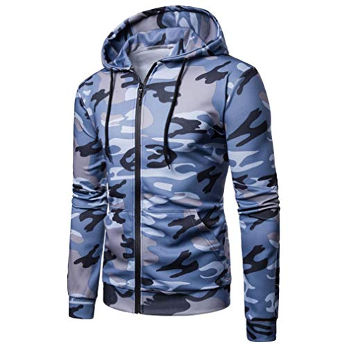 Bound Team Tee - kaifongfu Men Camouflage Long Sleeve Tee Hooded Sweatshirt Top Outwear BlouseBlueL
