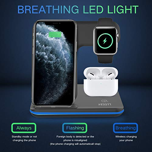 Wireless Charger 3 in 1 Charging Station for Apple Products Qi-Certified Wireless Charging Pad for iPhone, Apple Watch, Airpods, Galaxy S20 S10