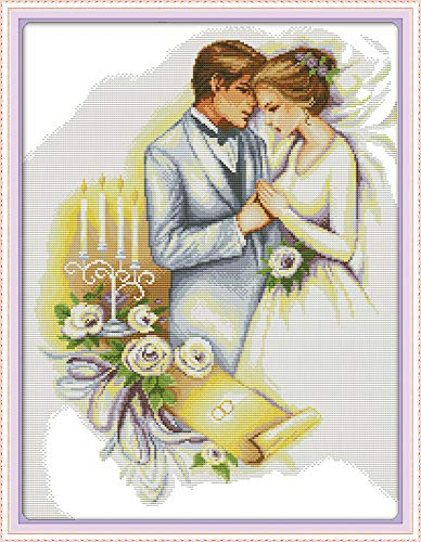 CaptainCrafts New Stamped Cross Stitch Kits Preprinted Pattern Counted Embroidery Starter Kits for Beginner Kids and Adults - Wedding Newly Married Couple (Stamped 11CT) ()