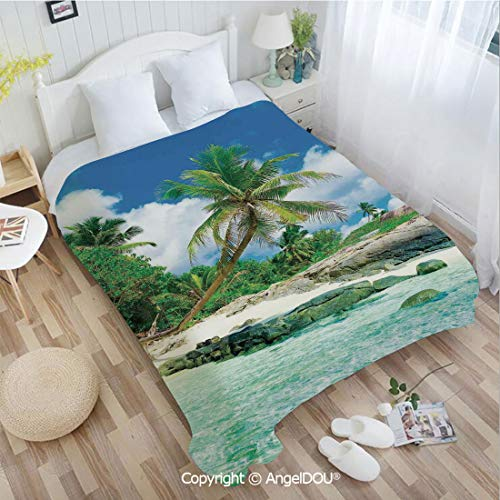 AngelDOU Warm air Conditioner Flannel Blanket W55 xL72 Scene Rocks Palms Shades Jungle Honeymoon Islands Remote Resort Leisure for Bed Cover Sofa car use. ()