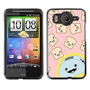 TopCaseStore / la caja del caucho duro de la cubierta de protección de la piel - Toaster Cartoon Handlebar Happy Toast - HTC G10