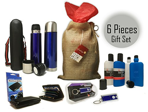 Flask Gift set bundle of 6 Pieces Insulated Vacuum Flask with Case 2 Chef Craft Liquor Flasks RFID Blocking Wallet LED Flashlight Key Chain Perfect Christmas Gift with Natural Packaging