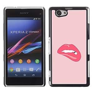 TopCaseStore / la caja del caucho duro de la cubierta de protección de la piel - Kiss Lips Sexy Lady Hot - Sony Xperia Z1 Compact D5503