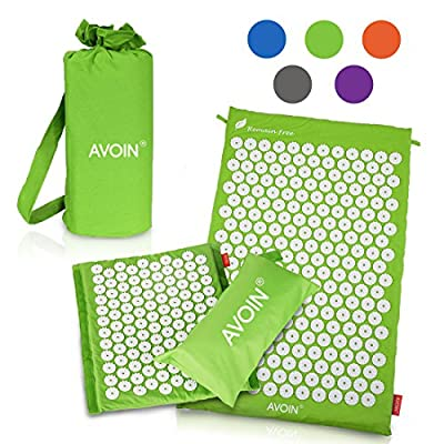 AVOIN colorlife Acupressure Mat 2 pcs SET / 1 Regular Size +1 Travel Size - Head Rest / Relieve Tension, reduce stress and anxiety - Comes with 2 Bonus Carry Bags for Storage and Travel
