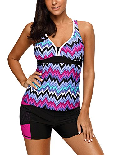 (HOTAPEI Women's Racerback Retro Tankini Set with Boyshort Tankini Swimsuits for Women Push Up Swimwear Two Piece Bathing Suit Purple Tone Multicolor Striped US 18 20)