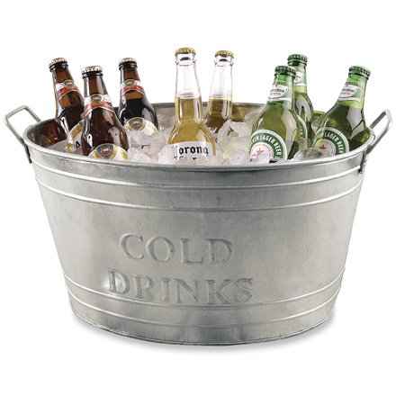 Farmhouse Small Oval Galvanized Steel Beverage Tubs with Handles (Cold Drinks) - Galvanized Drink
