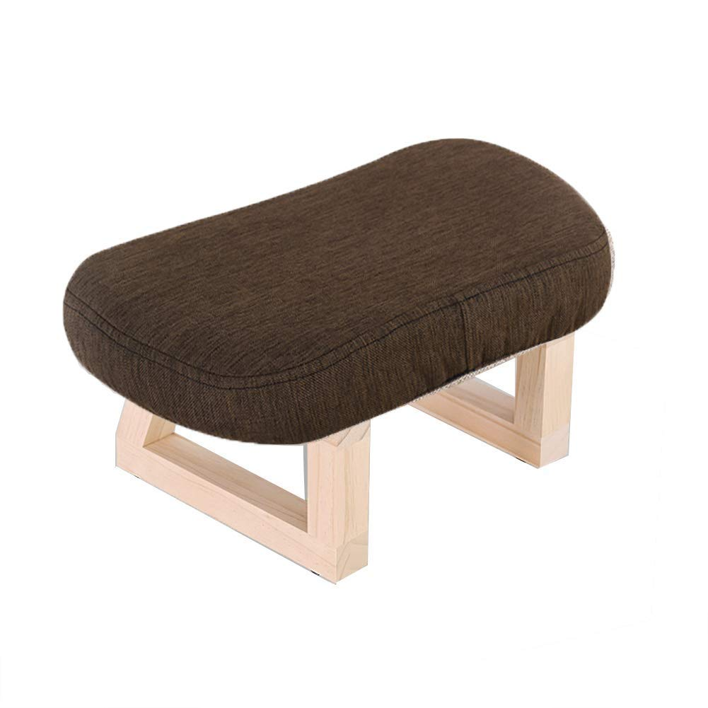Brown S JZX Footstool, Work Stool, Shower Stool, Solid Wood Living Room, Retro Home Fabric Stool