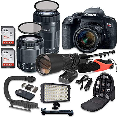 - Canon EOS Rebel T7i DSLR Camera Bundle with Canon EF-S 18-55mm f/4-5.6 IS STM Lens + Canon EF-S 55-250mm f/4-5.6 IS STM Lens + 500mm f/8 Preset Lens + Accessory Kit