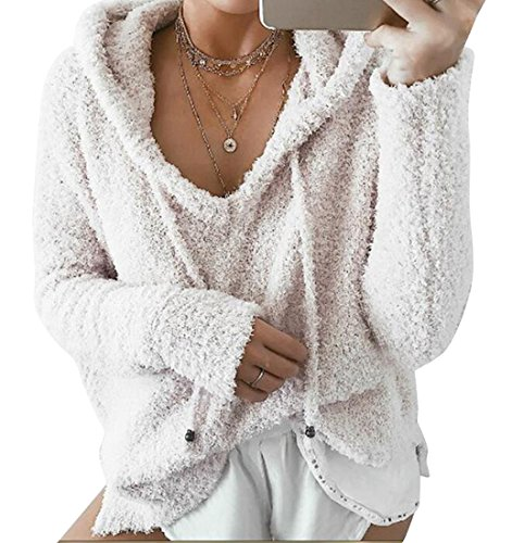 XQS Womens Casual Hooded Drawstring Solid Color Mohair Hoodie Pullover Sweatshirt Beige (Beige Mohair)