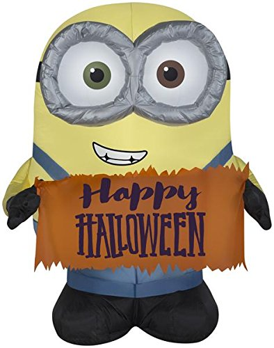 Gemmy Airblown Minion Bob Holding Happy Halloween Sign Halloween Inflatable]()