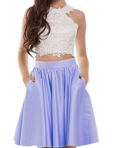 Gown BessDress Ball Piece Short Beads BD325 Lace Halter Two Lavender Top Homecoming Dresses Short 4r4P6xq