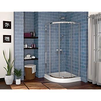"Fleurco Signature 36"" W x 36"" W x 70"" H Alina Semi-frameless Round 36 Corner Shower Door 5/32"" 4 mm Tempered Clear Glass Chrome Finish FCR36-11-40"