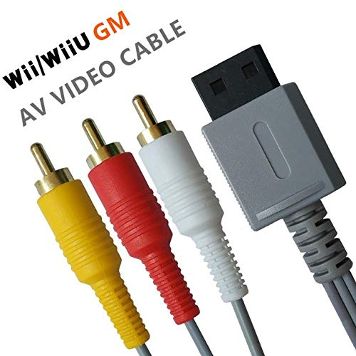 (Wii/Wii U AV Cable - 6FT Audio Video Wire Cable Composite 3 RCA Gold-Plated High Definition for Nintendo TV HDTV Display)