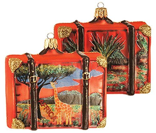 Pinnacle Peak Trading Company Africa Savannah Travel Suitcase Polish Glass Christmas Ornament ONE Decoration