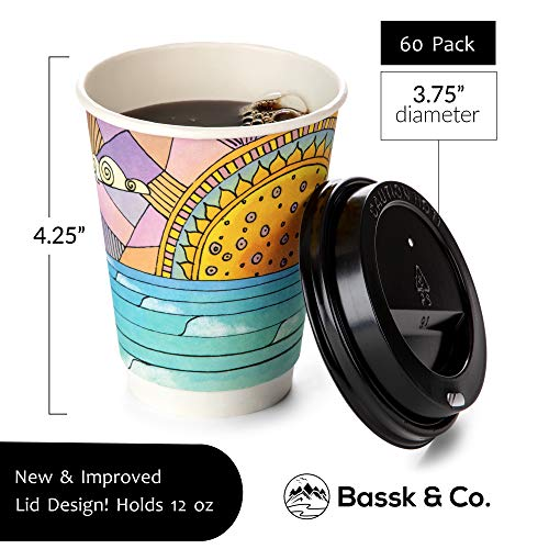 Premium Disposable Coffee Cups With Lids, 12 oz - To Go Paper Cup (60 Pack), Double Wall Insulated, for Hot or Cold Drinks - Leak Resistant, No Sleeve Needed - For Outdoor Party, BBQ, Picnic, Office
