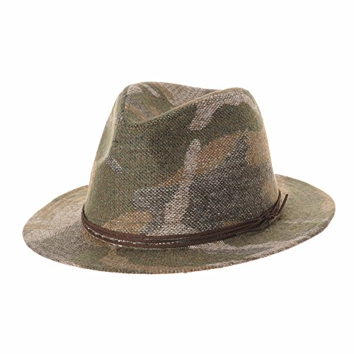 WITHMOONS Wool Felt Fedora Panama Hat Camouflage Pattern Wide Brim SL6529 (Brown) (Camo Felt Hat)