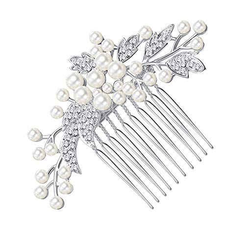 Weiss Rhinestone Clip - Sunshinesmile Rhinestone Wedding Bridal Hair Comb Pearl Flower Hair Jewelry Crystal Headpiece