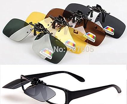 71d0da7783cd Generic Dark Green M   Hot Sell Polarized Clip on Sunglasses Day  amp   Night vision Drive Sun Glasses Nearsighted Myopia Sunglasses  Amazon.in   Home ...