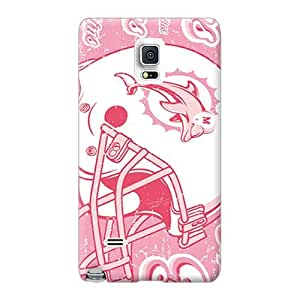 Anti-Scratch Hard Phone Case For Samsung Galaxy Note 4 (wrx12982EYip) Support Personal Customs Colorful Miami Dolphins Pattern