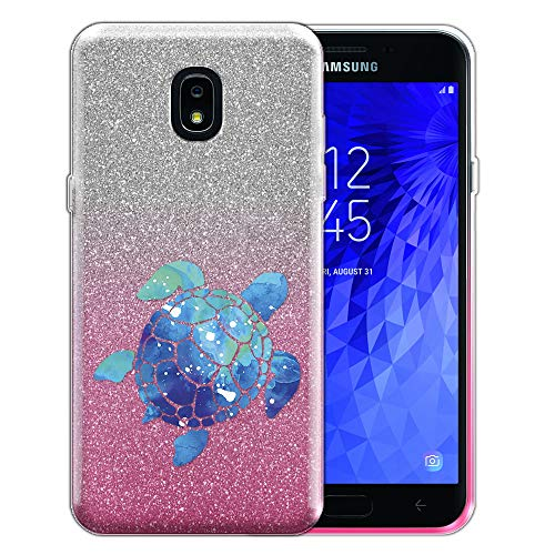 FINCIBO Case Compatible with Samsung Galaxy J7 J737 2018 5.5 inch, Shiny Sparkling Silver Pink Gradient 2 Tone Glitter TPU Protector Cover Case For Galaxy J7 2018 (NOT FIT J7 2017) - Blue Sea Turtle