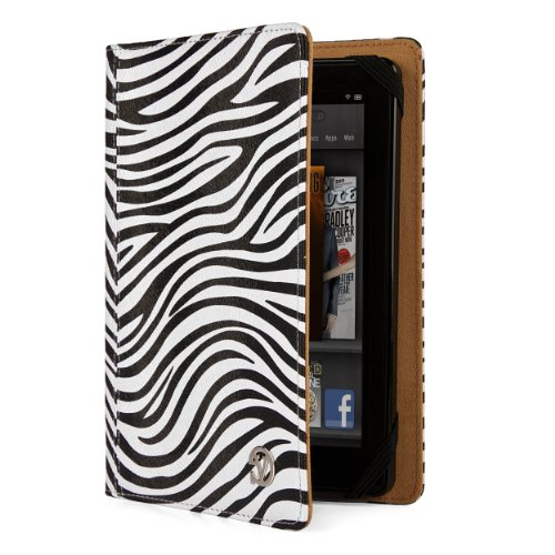 VanGoddy Mary Portfolio - Slim Premium Flip Book Style Cover w/Integrated Display Self Stand fits Amazon Kindle Fire 7' inch & Kindle Fire HD 7' inch Tablet//BLACK & WHITE ZEBRA (Fire Zebra For Hd Kindle Case 7)