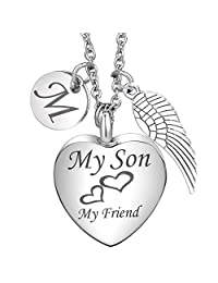 Cremation Urn Necklace My Son My Friend Angel Wing Charms 26 Initial Letter Alphabet Memorial Keepsake Pendant Ash Jewelry