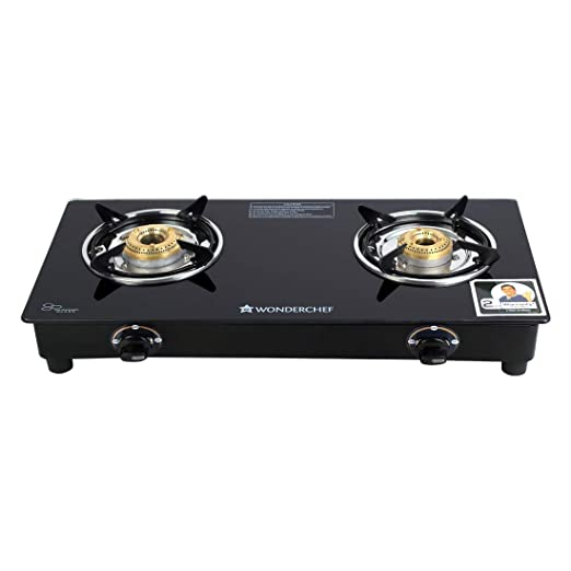 Wonderchef Power Glass Top 2 Burner Gas Stove, Manual Ignition, Black