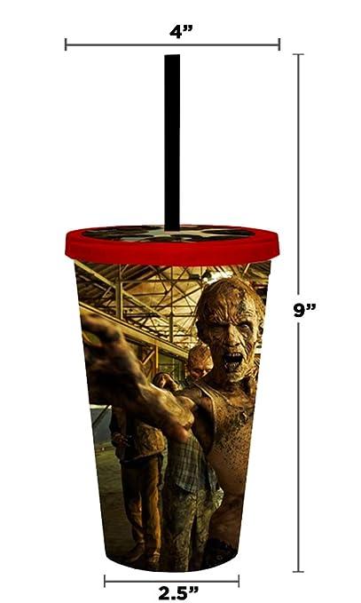 Martillo de oficial de AMC THE WALKING DEAD Biters Creepers excursionistas y Zombies Premium acrílico vaso de viaje taza con tapa de rosca con pajita (sin ...
