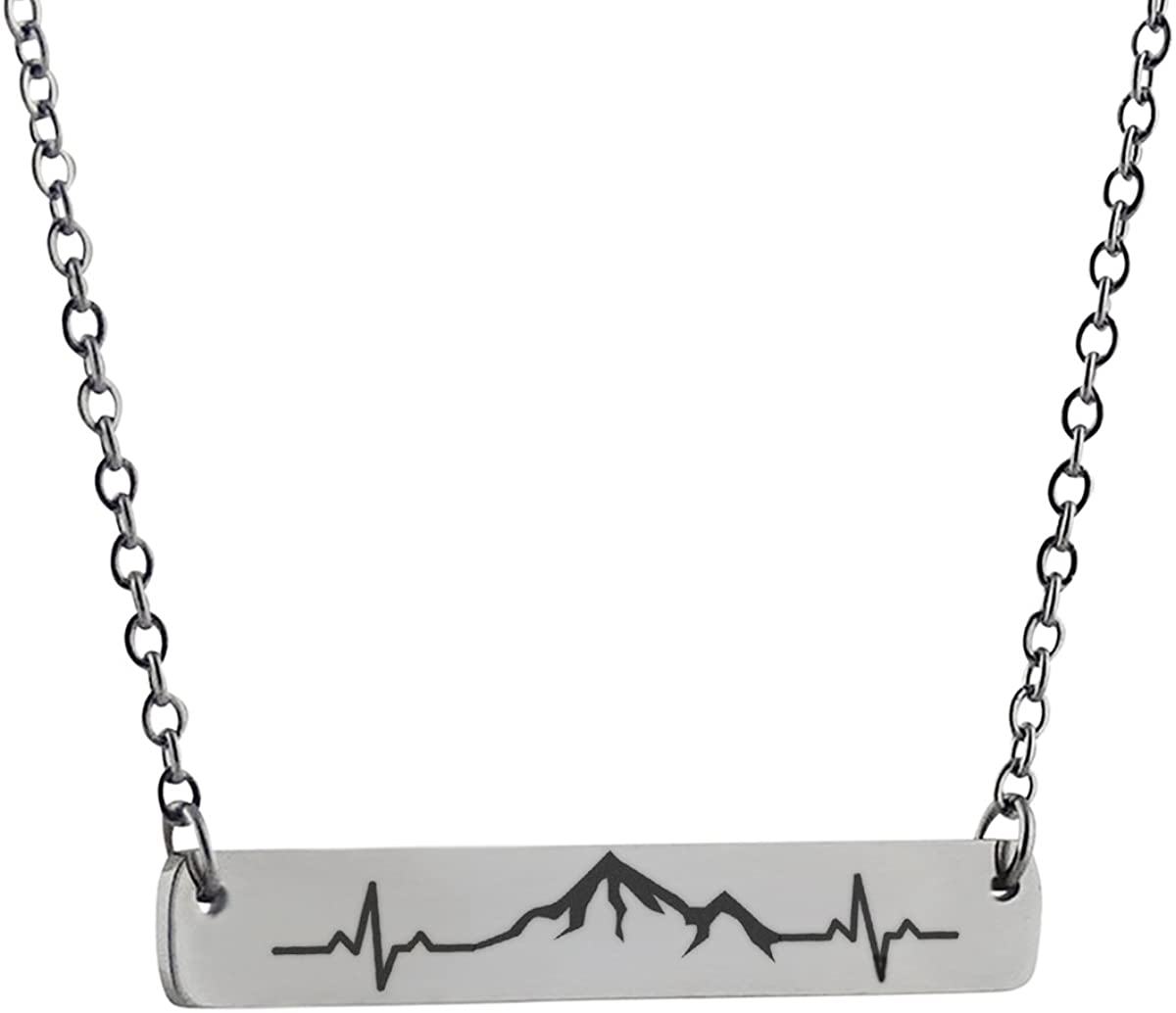 FashionJunkie4Life Stainless Steel Horizontal Bar Necklace with Mountain Range Heartbeart 18""