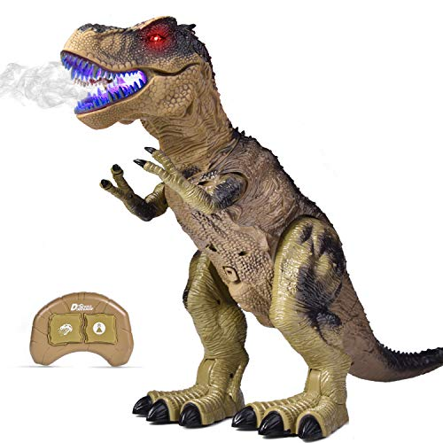 Remote Control Dinosaur for Kids, Electronic Walking & Spray Mist Large Dinosaur Toys with Glowing Eyes, Roaring Dinosaur Sound, 18.5