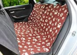The Original URHAPPYDOG Soft Fleece Seat Cover for Dogs use in car, truck, SUV, Fleece, Waterproof, Non-slip, hammock for Travel, Dog Park, Beach, or Vet (Black or Brown with Tan Paw Print)