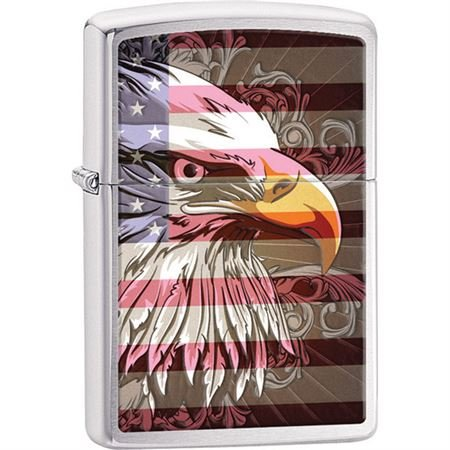 Michigan Lighting (Zippo Lighters 28652 Eagle Flag Brushed Chrome Wind-Resistant Lighting and An Unconditional Lifetime Guarantee)