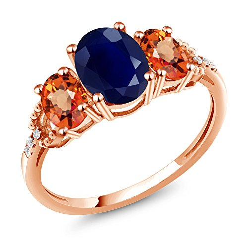 Gem Stone King 2.93 Ct Oval Blue Sapphire Orange Sapphire 10K Rose Gold Diamond Accent Ring (Size 8)