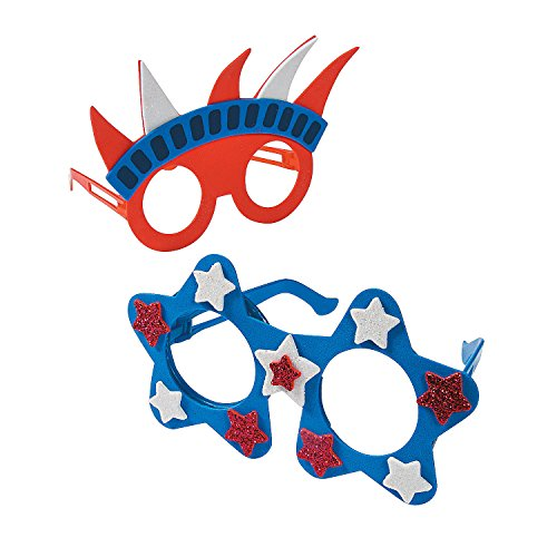 Fun Express - Patriotic Foam Glasses Ck - 12 for Fourth of July - Craft Kits - Apparel Craft Kits - Misc Apparel Craft Kits - Fourth of July - 12 Pieces