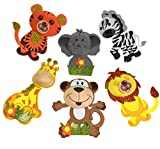 AVELLIM 12 Large Safari Jungle Zoo Animals (8'' Tall) Foam Decorations for Baby Shower, Birthday Parties Gifts for Boys Girls Adhesive Easels Back Included