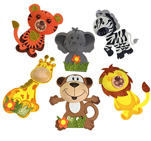 Monkey Baby Shower Centerpieces (AVELLIM 12 Large Safari Jungle Zoo Animals (7.5
